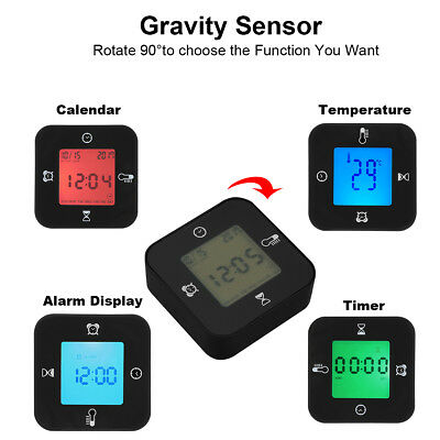 LCD Tischuhren Morning Clock Morgenuhr Digital Timer Kalender Alarm Black 4 in1