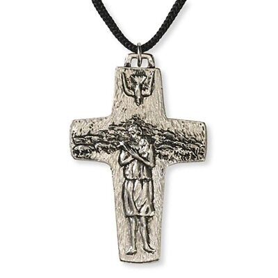 """Pope Francis Good Shepherd Cross Pendant (VC169) 2 3/4"""" High with cord"""