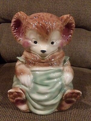 BEAR COOKIE JAR with green apron. In excellent condition.