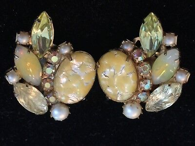 Stunning Vintage Clip Earrings Climbers Moonstone Veined Molded Art Glass Wow!