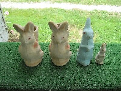 Lot of Four (4) Vintage Antique Paper Mache Easter Bunny Rabbits
