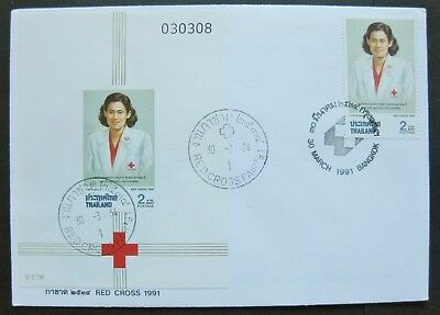 Thailand 1991: FDC Stamp & MS for Red Cross Issue