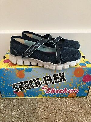 SKECHERS Girls Skech Flex Navy Mary Jane Shoes Velcro Size 12.5