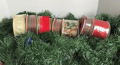 Lot Of 7 New Christmas Ribbon 46 yards wired and plain, 5 designs