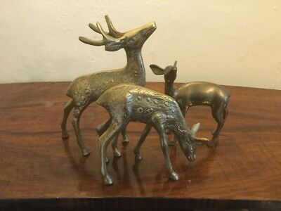 Vintage Collection Of A Brass Stag And Two  Brass Deers