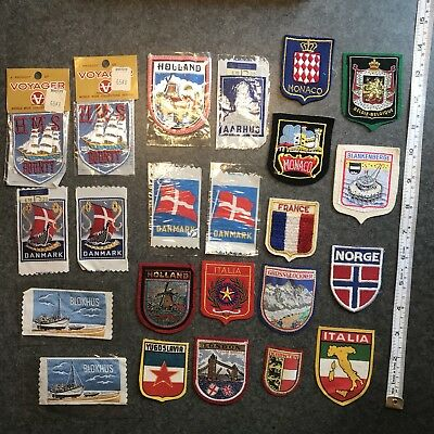 Vintage Souvenir Patch Lot Europe Travel Patches France Denmark Holland Monaco