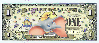WDW 2009 $1 D Dumbo With Barcode Uncirculated Disney Dollar D0876229 Dollars Env