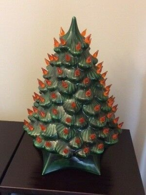 """Vintage 14"""" Ceramic Christmas Tree with inline switch, lights"""
