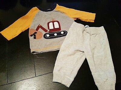 boys 6-9 months car digger top joggers leggings trousers bundle outfit set next