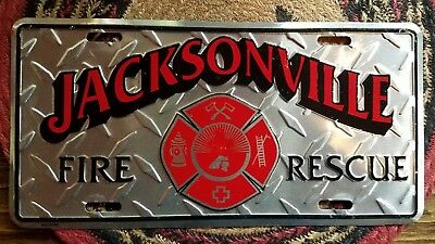 Jacksonville Florida fire department front  license plate diamond plate