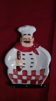 1980'S Fat Chef Kitchen Spoon Rest with red/white Checkerboard Apron.