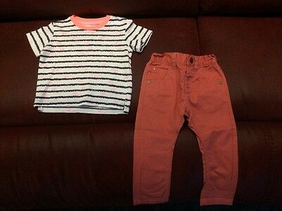 Boys Trousers And Tshirt 9-12 Months