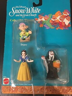 Disney Snow White Seven Dwarfs Collectible Figures Mattel Wicked Witch Dopey VTG