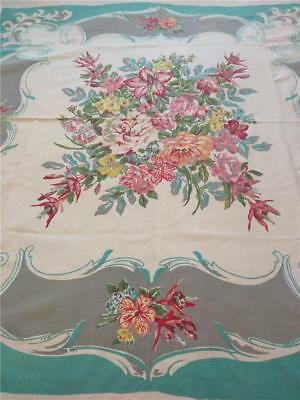 Vintage Printed Tablecloth Queen Anne (Shawmut) with Tag- Abundant Flowers! WOW!