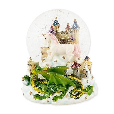 Castle Unicorn with Green Dragon 100mm Resin Glitter Water Globe Plays Tune Our