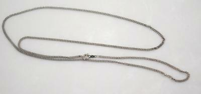 "Antique Vintage Sterling Silver Signed 1 mm Chain  Necklace  24"" L  (5  g)"