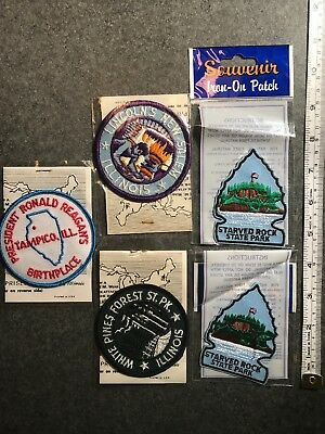Lot Of Vintage Illinois Souvenir Travel Tourist Patches Abraham Lincoln Regan
