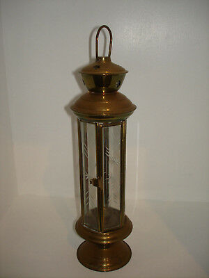 Antique Vintage French Brass Hanging Candle Lantern W Etched Glass Panels