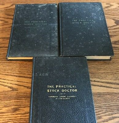 "Original 1920 3 Volume Set ""The Practical Stock Doctor"" on Veterinary Medicine"