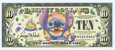 WDW 2005 $10 D Uncirculated Disney World Dollar STITCH Barcode D00215867 Dollars