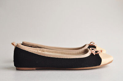 Crewcuts Girls Size 3 Ballet Flats Black Beige Two Tone Color Block Shoes J Crew