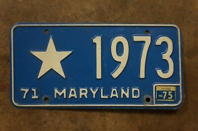 1971 1972 1973 1974 1975 Maryland Official License Plate With STAR # 1973