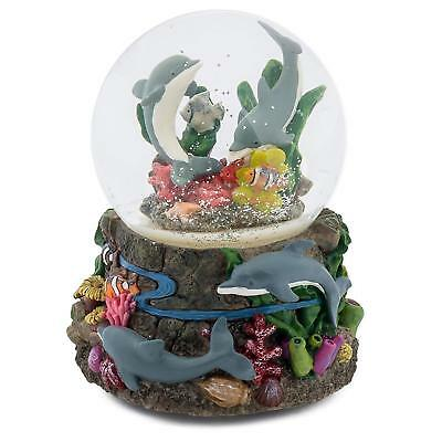 Dolphin World Coral Reef 100MM Music Water Globe Plays Tune Somewhere Out There