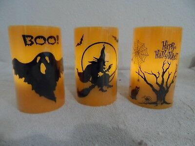 Sset Of 3 Orange Flameless Halloween Candles