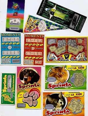Lottery Ticket Latvia Cat ,dog ,christmas , Black Jack  10 Different