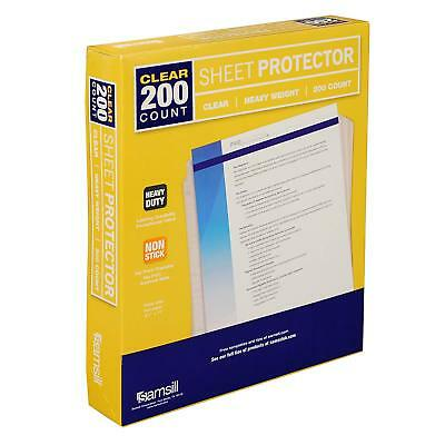 Samsill Heavyweight Clear Sheet Protectors, Box of 200 Plastic Page Protectors,