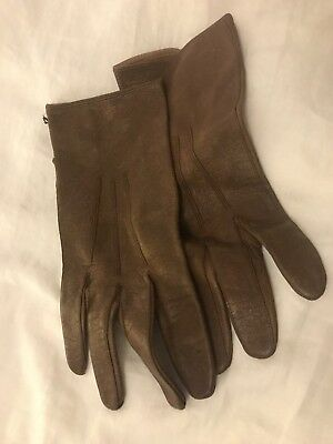 French Vintage Brown Leather Driving Gloves