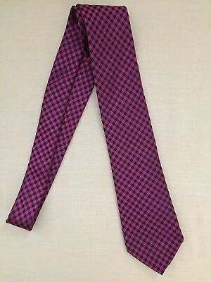"Michael Kors Tie~Magenta & Navy Blue Checked~100% Silk~60"" Long X 3.25"" Wide"