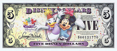 WDW 2009 $5 D Series Uncirculated Crisp Disney Dollar Minnie & Daisy D00121770
