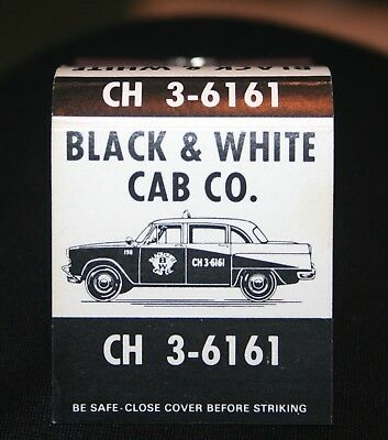 1960's CHECKER bLACK & WHITE CAB CO Matchbook Unused with matches ORIGINAL