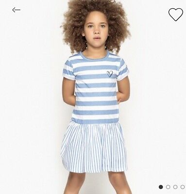 Age 8 Years New La Redoute Striped Girls Dress Blue Short Sleeves