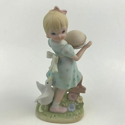 Lefton Christopher Collection Blonde Girl in Dress with Pie Goose Bow 07486 Gift