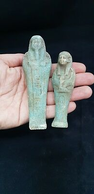 ANCIENT EGYPTIAN Antique SHABTI USHABTI 2 Rare Statue Figure Amulet 300-600 BC