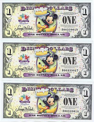 WDW 3 CONSECUTIVE 2009 $1 D CRISP UNC Disney World Dollars Mickey Pluto Dollar