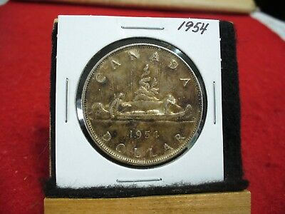 1954  Canada  Silver Dollar  Coin   Nice Grade  54   Heavy Toning   Auction  Key