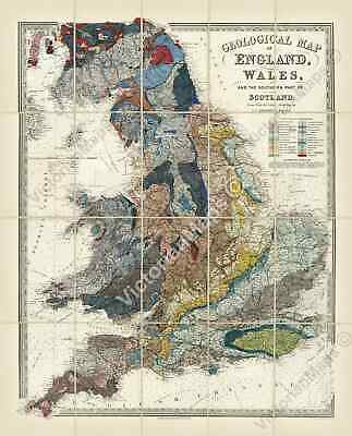antique Victorian geological map England & Wales, E Ravenstein 1865 print poster