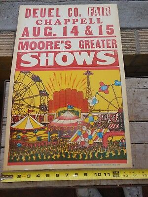 Vintage 50's/60's Carnival Poster Original Moore's Greatest Carnival 22 x 14""