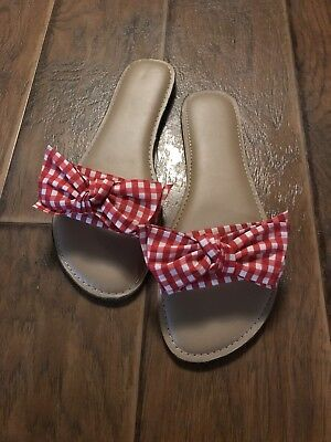 Womens Gingham Plaid Bow Tie Sandals Size 9