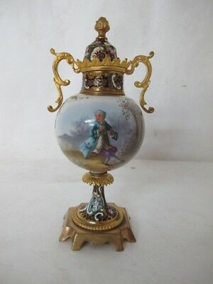 Spectacular C.1890S Cloisonne Sevres Hand-Painted And Signed Cabinet Urn