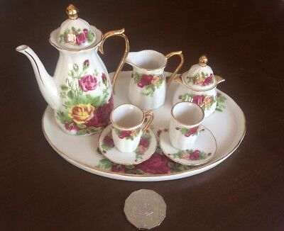 Stunning Rose Miniature Tea Set With Gold Detail