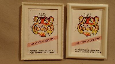 PAIR 1960s? ESSO EXXON PUT A TIGER IN YOUR TANK PICTURE FRAMES Promo Giveaway