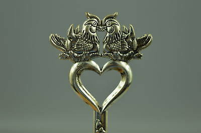 Collectible Chinese Culture Tibet Silver Carve Mandarin Duck Woman Hairpin Gift