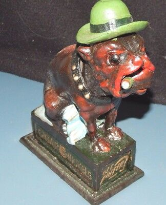 BULLDOG OLE PUFFER Mechanical Bank CIGAR 5¢ NICKELS Cast Iron BOOK Of KNOWLEDGE