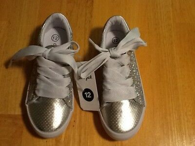 Cat & Jack Girls Glitter Silver Sneakers Size 12 NEW