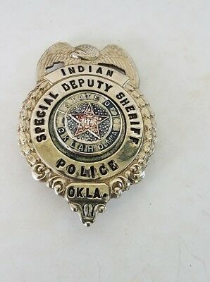Vintage Obsolete 1960s Indian Police Oklahoma Special Deputy Sheriff Badge