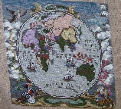 Queen Adelaide completed wool TAPESTRY Olde WORLD Antique style MAP